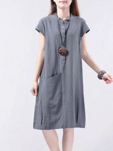 Unique Pocket A-Line Linen Dress