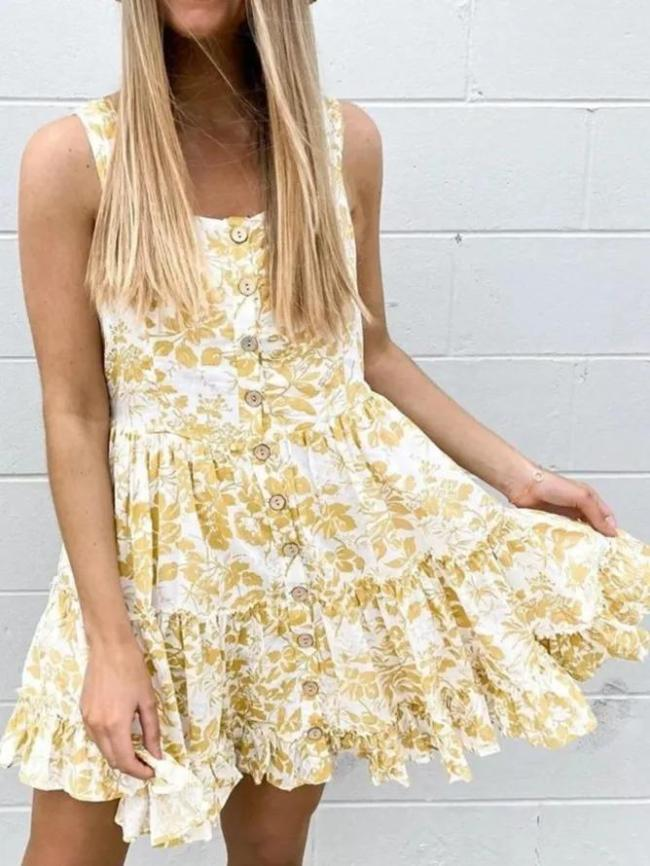 Yellow Sleeveless Casual Cotton Dresses