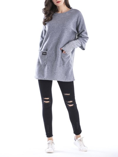 Crew Neck Long Sleeve Solid Casual Paneled Plus Size Hoodie