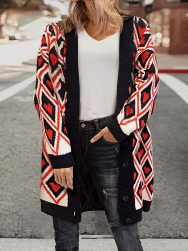 Loose Love Pattern V-Neck Knit Cardigan