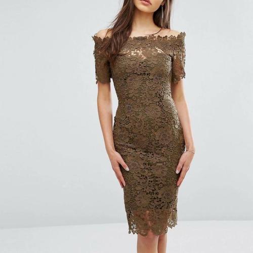 Fashion Boat Neck Lace Splicing Off-Shoulder Bodycon Dresses