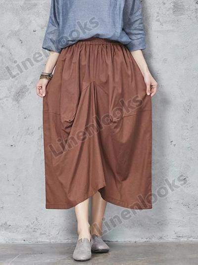 Irregular Loose High Waist Elastic Waised Linen Pants Womens Trousers Large Size
