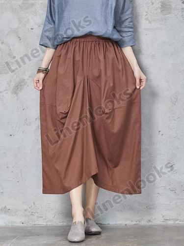 Irregular Loose High Waist Elastic Waised Linen Pants Womens Trousers Large Size