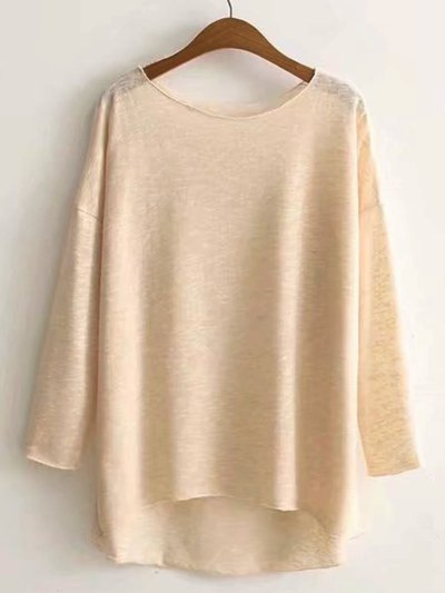 Long Sleeve Cotton Plain Crew Neck Shirts & Tops