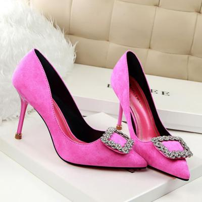 Women's Shoes Summer Heels Elegant High-heeled Suede Thin Soles Crystal Buckle Drill Shoes