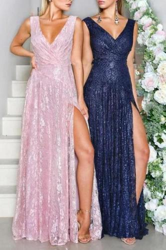 Sexy Deep V Sleeveless Slit Evening Dress