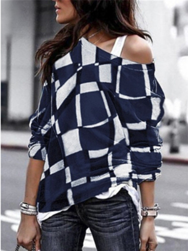Women Long Sleeve Checkered Cotton-Blend Geometric Off-shoulder T-Shirts