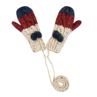 Female Winter Gloves Striped Printed All Fingers Winter Women Gloves Girls Mittens Warm Lining - Cozy Cable Knit Thick Gloves
