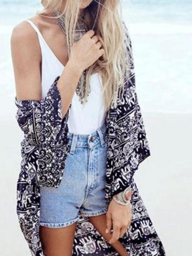 Bohemia Style Printed Loose Vacation Cardigan