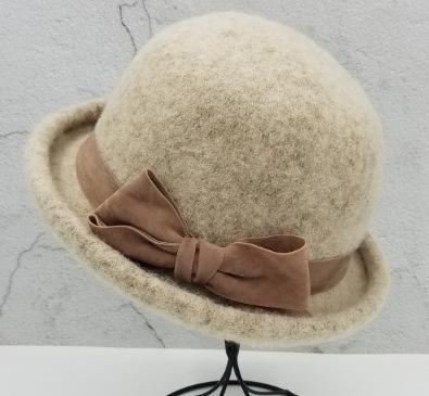Retro Bow Solid Color Plush Wool Felt Hat