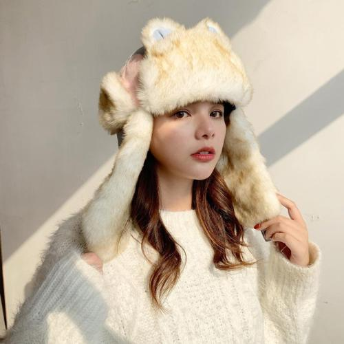 Women's Autumn and Winter Outdoor Ear Protector Aircraft Cap Cat Ear Ski Cap.