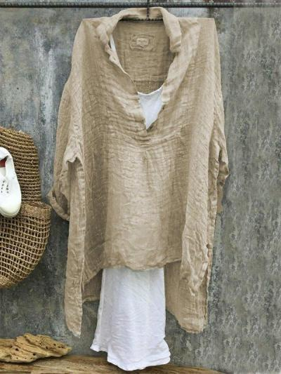 Casual V-Neck 3/4 Sleeve Solid Plus Size Bat Sleeve Tops