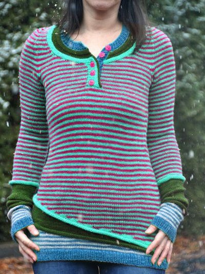 Green Crew Neck Wool Blend Long Sleeve Sweaters