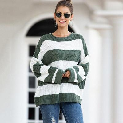Autumn and Winter New Women's Sweater Women's Curled Round Neck Striped Striped Color-matching Sweater Knit Sweater Women