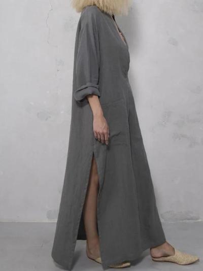 Plain Casual V Neck Linen Dresses