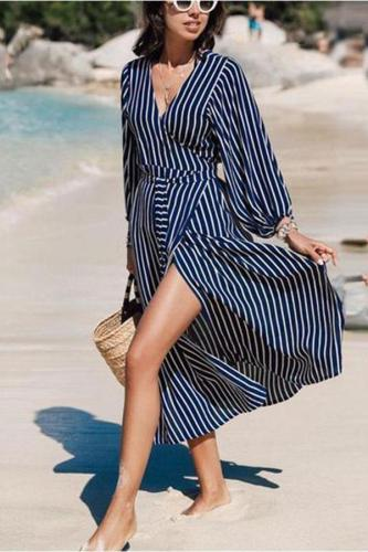 Fashion V Collar Striped Lantern Sleeve Dual Purpose Dustcoat Maxi Dress