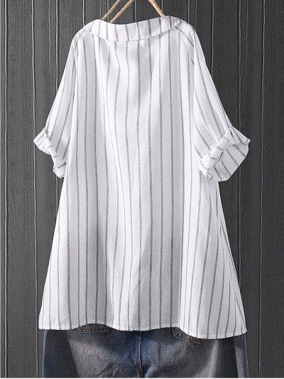 Sweet V Neck Half Sleeve Striped Shirts & Tops