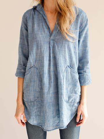 Blue Cotton Shirts & Tops