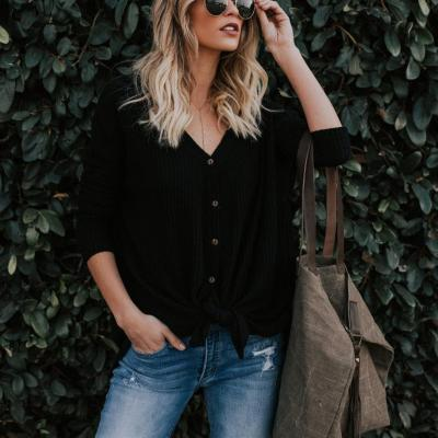 Long-Sleeved V-Collar Women's Sweater