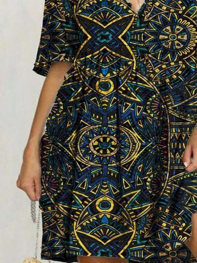 Flower Tribal Floral-Print Holiday Cotton-Blend Dresses
