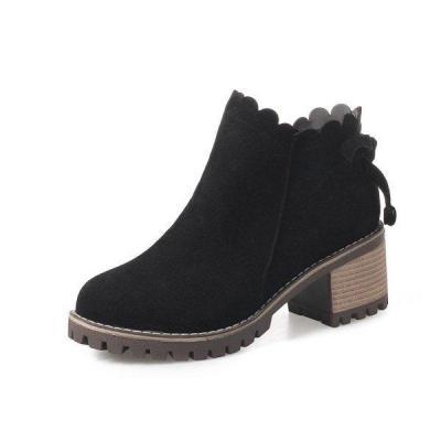 Retro Wave Zipper Block Round Toe Square Heels Platform Boots For Women