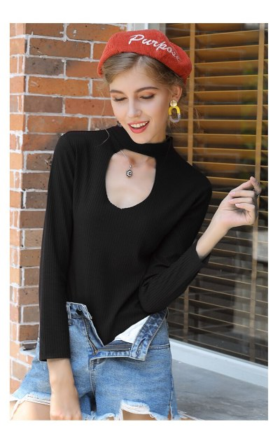 Solid color long-sleeved pullover sweater