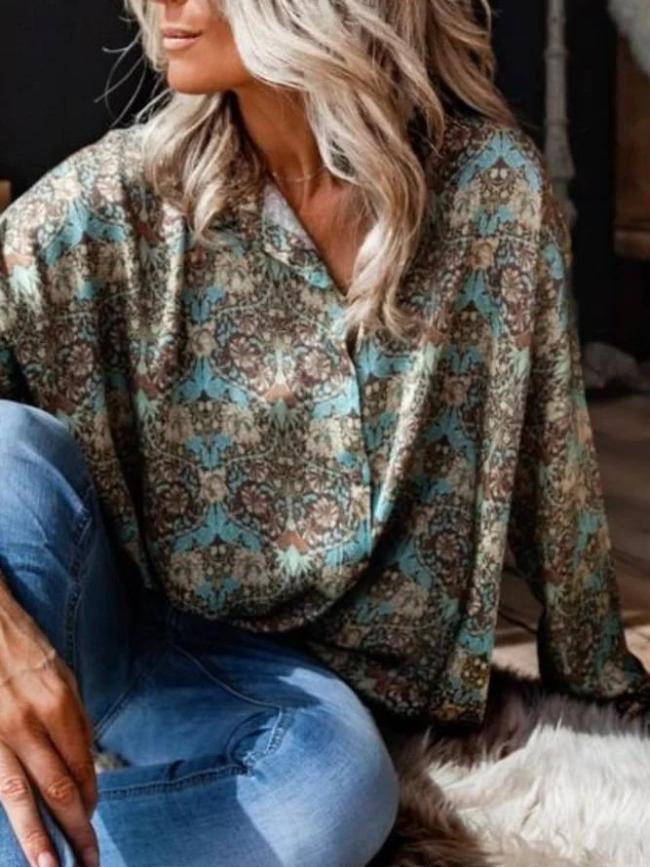 Long Sleeve Printed Tribal Shirt Collar Shirts & Tops