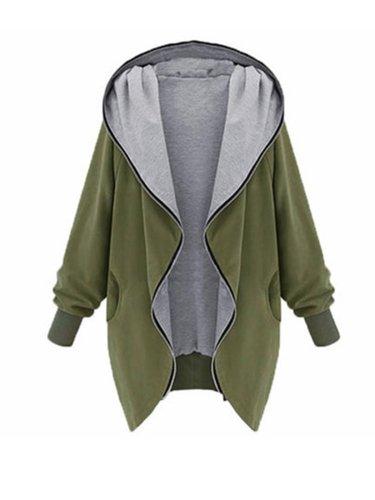 Women Solid Warm Zip Casual Coat