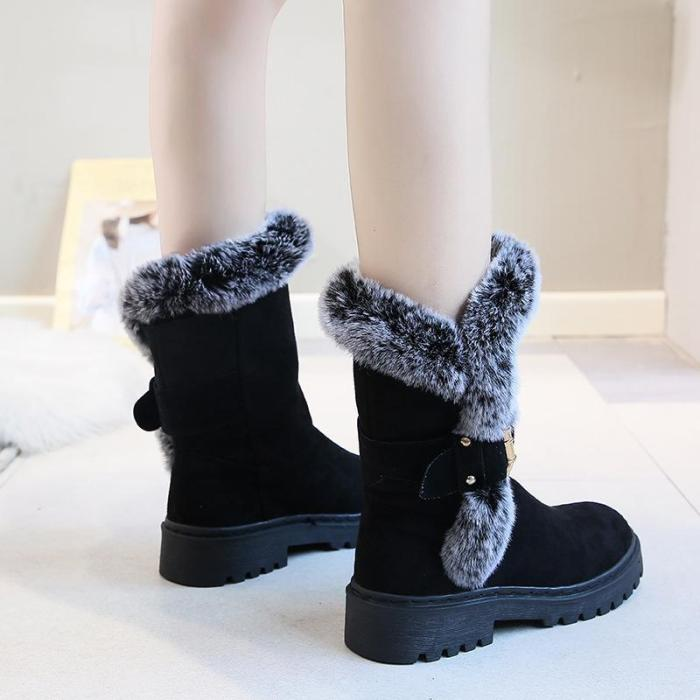 Women New Snow Boots Low Heel Mid-Calf Warm Boots