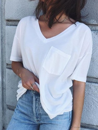 Women Casual Pocket Tops Tunic T Shirt
