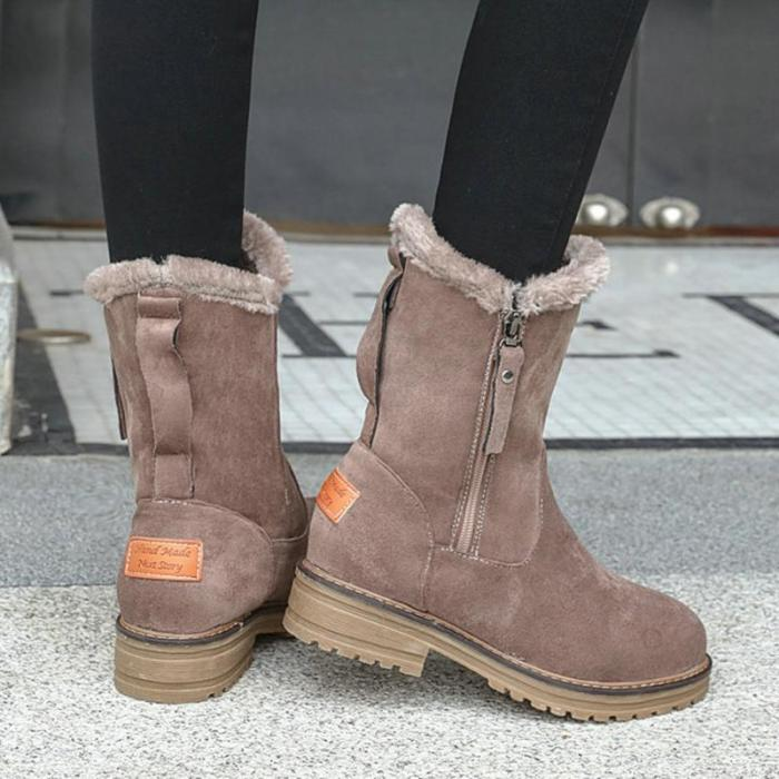 Women Round Toe Snow Boots Zipper Casual Artificial Suede Shoes