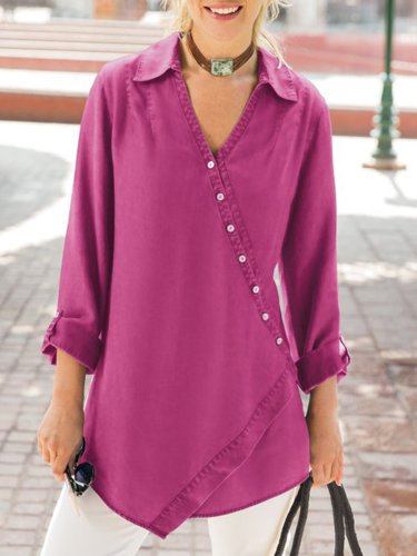 Fuchsia Shift V Neck 3/4 Sleeve Shirts & Tops