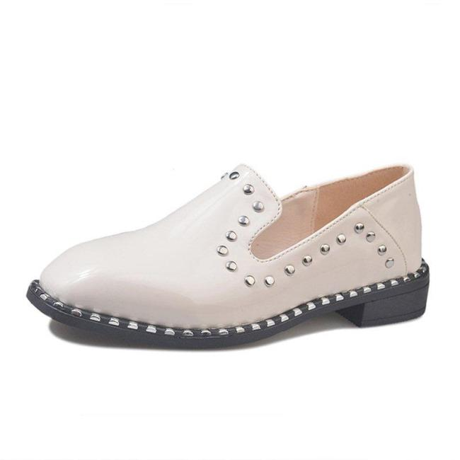 Women Patent leather Rivet Low Heel Loafers Casual Comfort Shoes