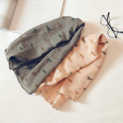 Korean Casual Cotton Linen Print Cactus Soft Warm Autumn Shawl Scarves