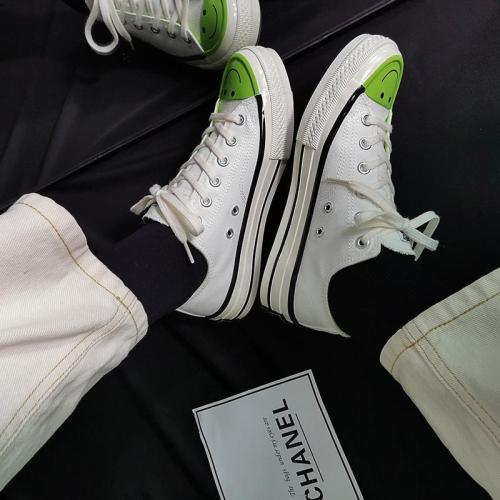 Women's Fashion Casual Cartoon Smiley Solid Color Canvas Sneakers