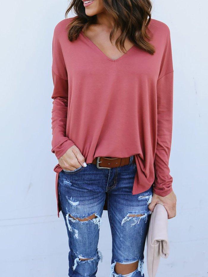 Long Sleeve Cotton Casual V neck T-Shirt