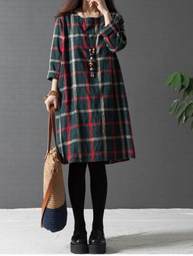 Long Sleeve Women Loose Linen Cotton Plaid Casual Dress