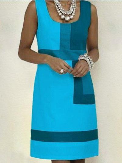 Shift Geometric Sleeveless Dresses