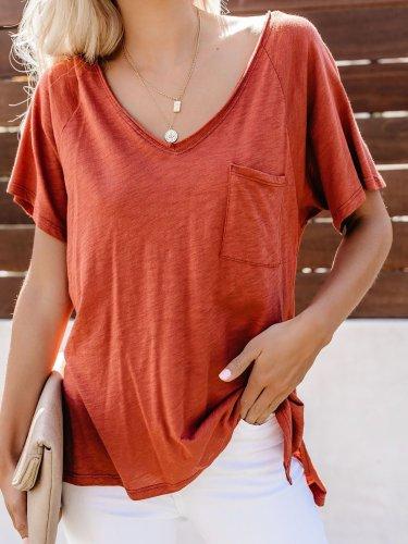 V-neck Solid Pocket T Shirts