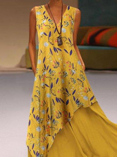 Yellow V Neck Sleeveless Cotton-Blend Dresses