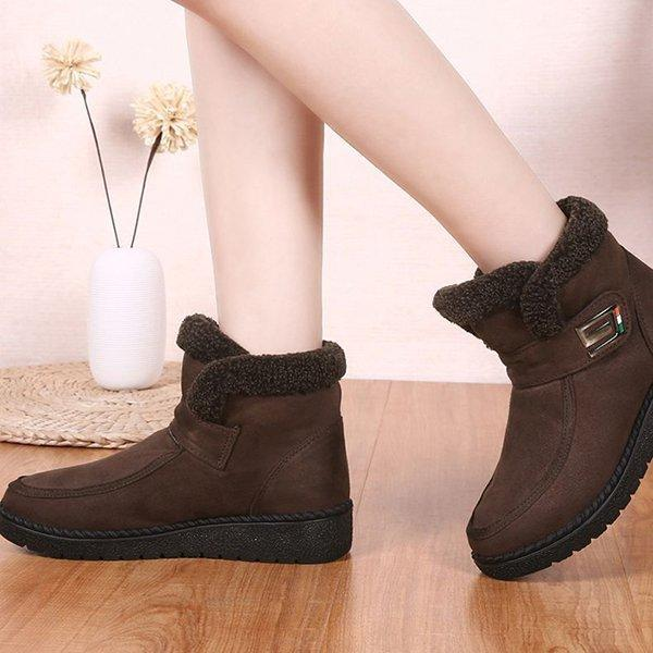 Women's Flat Heel Slip-On Round Toe Warm Booties