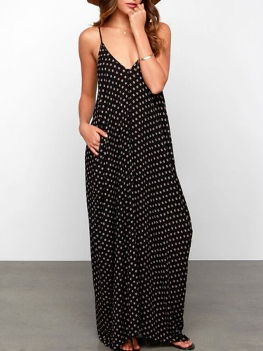 Women Print Dress V neck Swing Casual Polka Dots Dress
