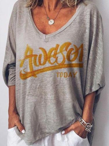 Gray V Neck Long Sleeve Letter Cotton-Blend Shirts & Tops