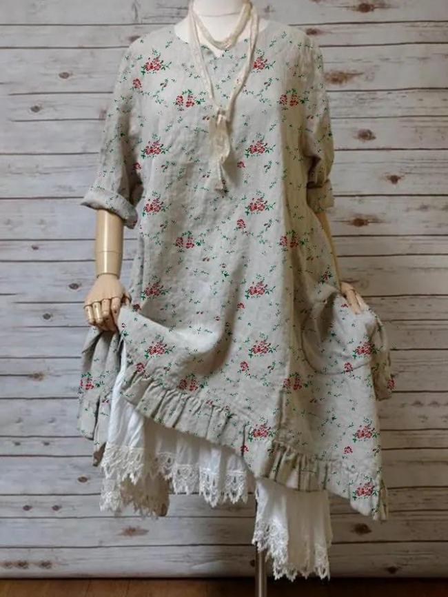 Vintage Casual Plus Size Floral Printed 3/4 Sleeve Dresses