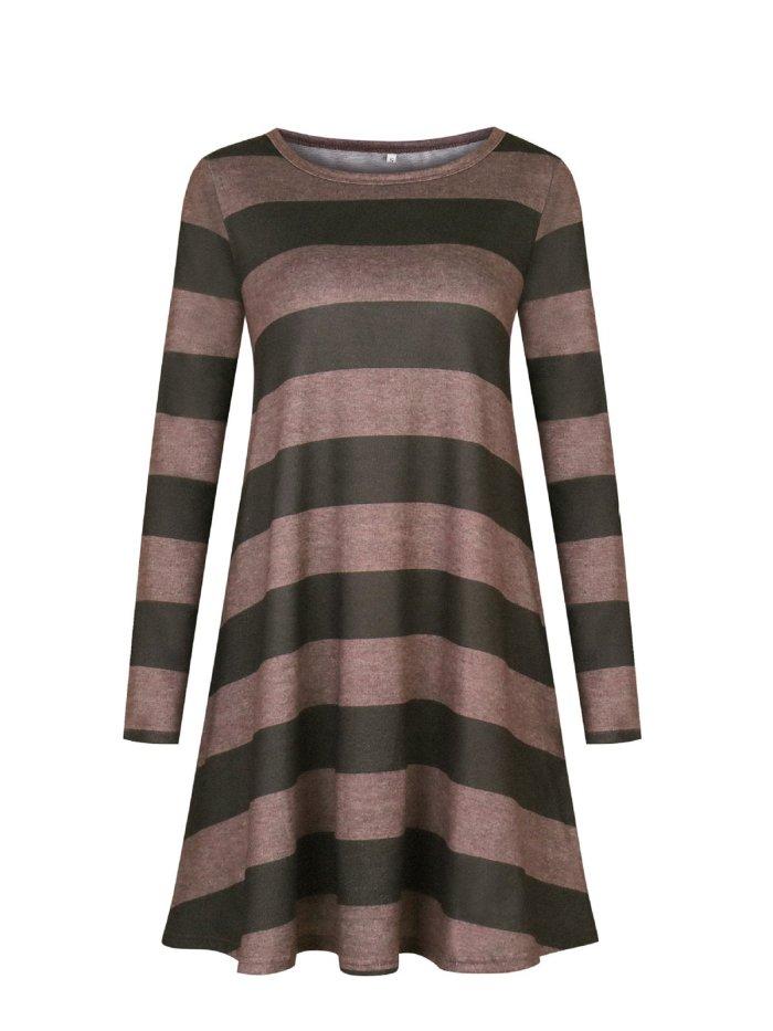Casual Crew Neck Striped Cotton-blend Dress
