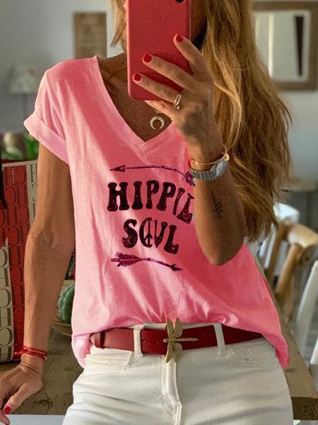 Letter Short Sleeve V Neck Shirts & Tops