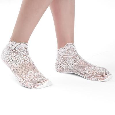 Spring Summer New Fashion Lace Hollow Out Flowers Female Transparent Socks