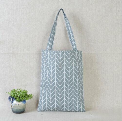 Women Linen Cotton Plaids Canvas Shopping Shoulder Bags
