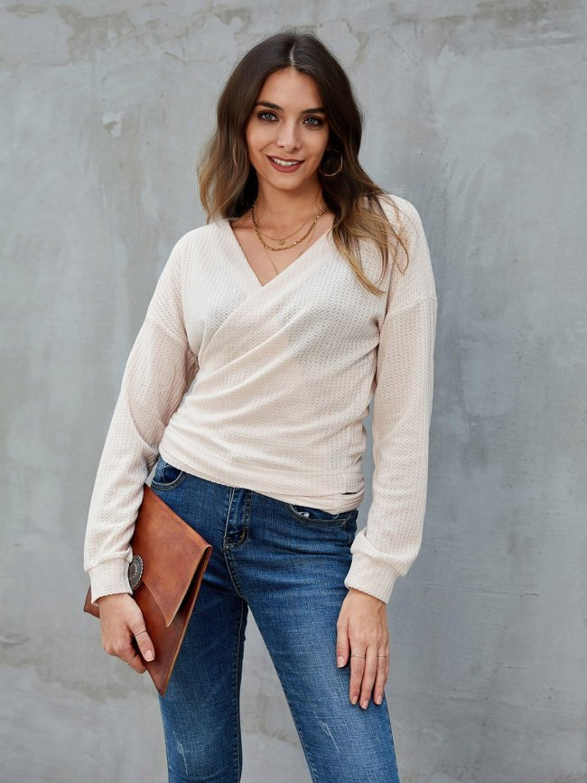 Apricot Casual Surplice Neck Knot Front Sweaters