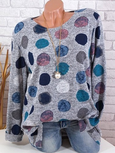 Polka Dots Long Sleeve Casual T-Shirt